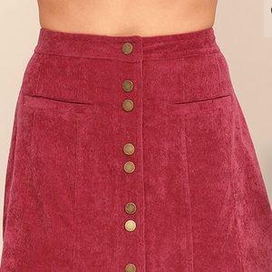 NWT Lulu's Maroon Corduroy Button Skirt